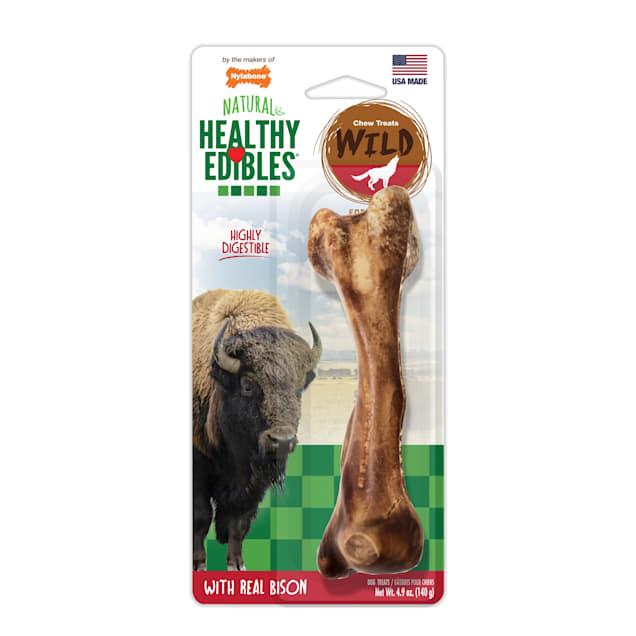 Nylabone Healthy Edibles Bison Flavored Large Dog Bone Chews, 4.9 oz. - Carousel image #1