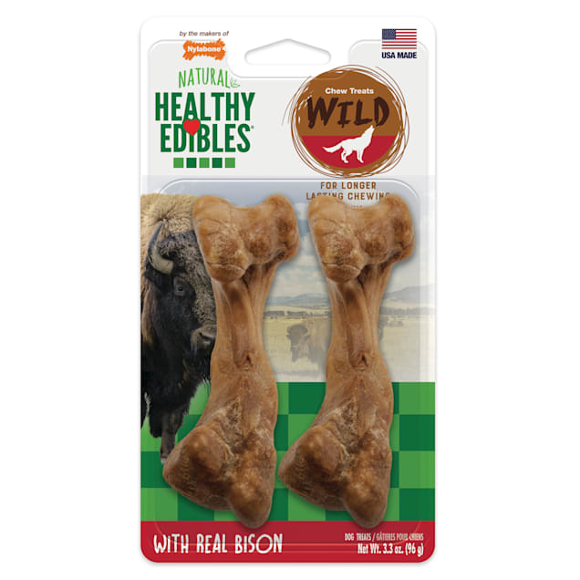 Nylabone Healthy Edibles Bison Flavored Dog Bone Chews, Medium, Count of 2 - Carousel image #1