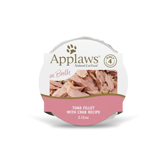 Applaws Natural Tuna Fillet with Crab in Broth Wet Cat Food, 2.12 oz. - Carousel image #1