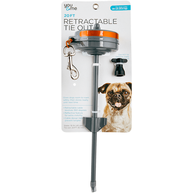 You & Me Medium Retractable Tie Out, 20' L, For Dogs up to 50 LBS - Carousel image #1
