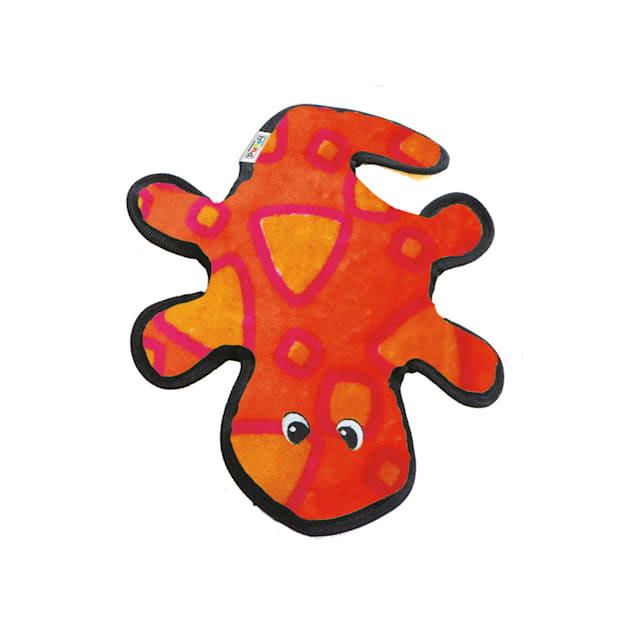 """Outward Hound Invincible Red & Orange Gecko Dog Toy, 14"""" L X 9.5"""" W X 2"""" H - Carousel image #1"""