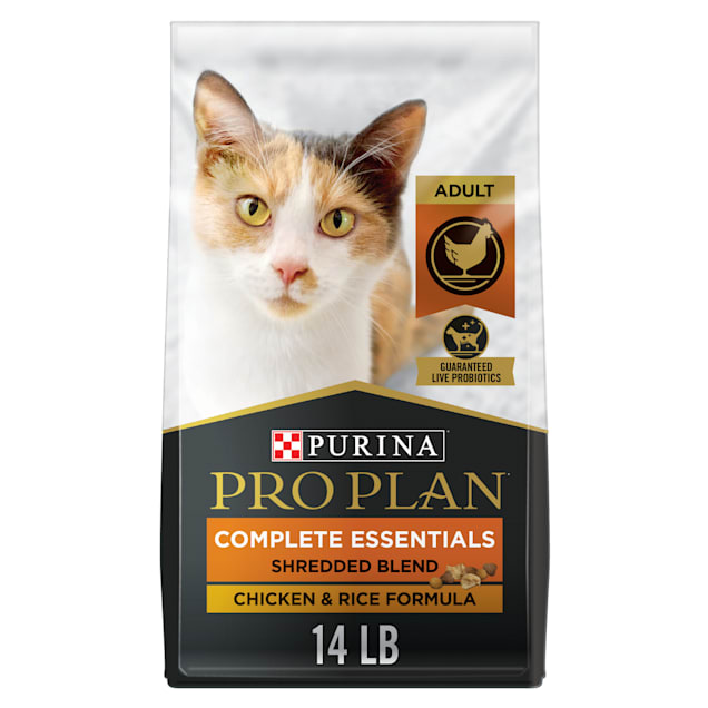 Purina Pro Plan With Probiotics Shredded Blend Chicken & Rice Formula Dry Cat Food, 14 lbs. - Carousel image #1