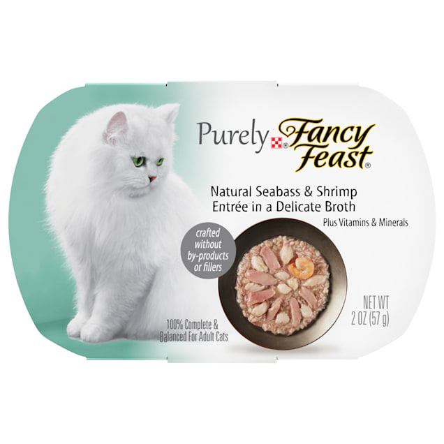 Fancy Feast Purely Naturals Seabass & Shrimp Entree Adult Wet Cat Food, 2 oz., Case of 10 - Carousel image #1