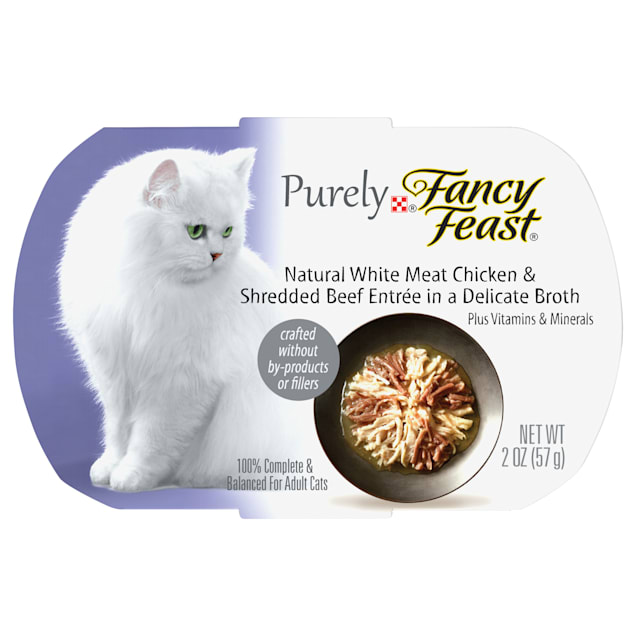 Fancy Feast Purely Naturals Chicken & Beef Adult Wet Cat Food Trays, 2 oz., Case of 10 - Carousel image #1