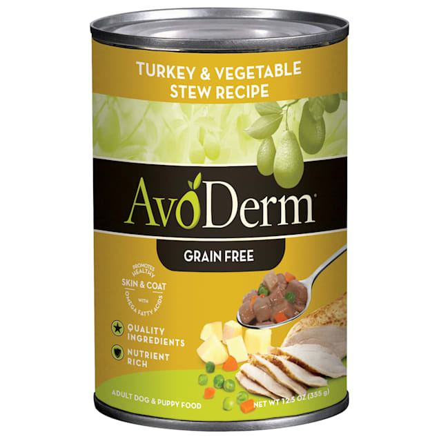 AvoDerm Natural Grain Free Turkey & Vegetable Stew Canned Dog Food, 12.5 oz, Case of 12 - Carousel image #1