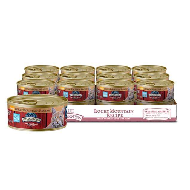 Blue Buffalo Blue Wilderness Rocky Mountain Recipe Adult Flaked Red Meat Feast Wet Cat Food, 5.5 oz., Case of 24 - Carousel image #1
