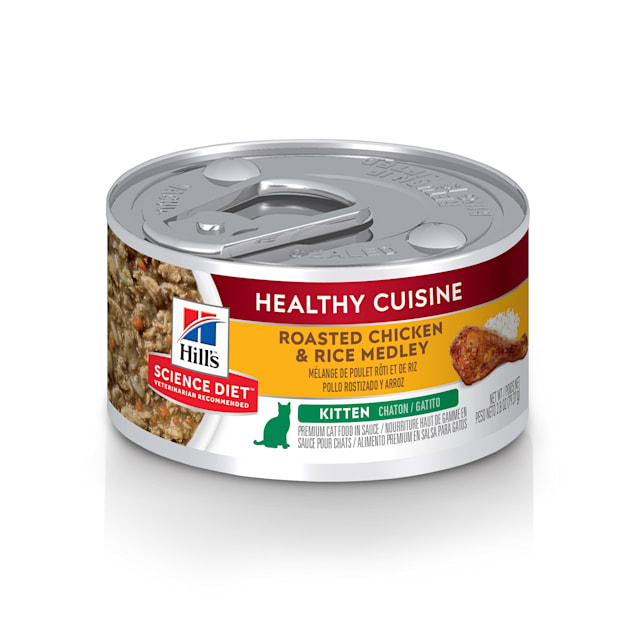 Hill's Science Diet Healthy Cuisine Kitten Roasted Chicken & Rice Medley Canned Cat Food, 2.8 oz., Case of 24 - Carousel image #1