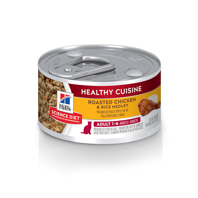 Hill's Science Diet Healthy Cuisine Adult Roasted Chicken & Rice Medley Canned Cat Food, 2.8 oz., Case of 24 - Carousel image #1