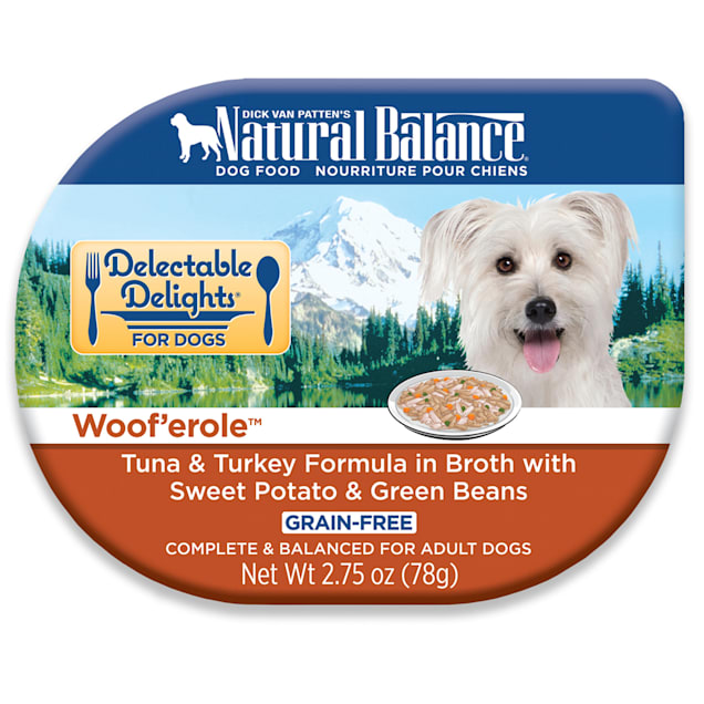 Natural Balance Delectable Delights Grain Free Woof'erole Tuna & Turkey Adult Dog Food, 2.75 oz., Case of 24 - Carousel image #1