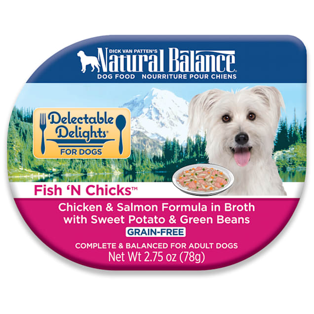 Natural Balance Delectable Delights Grain Free Fish' N Chicks Chicken & Salmon Adult Dog Food, 2.75 oz., Case of 24 - Carousel image #1