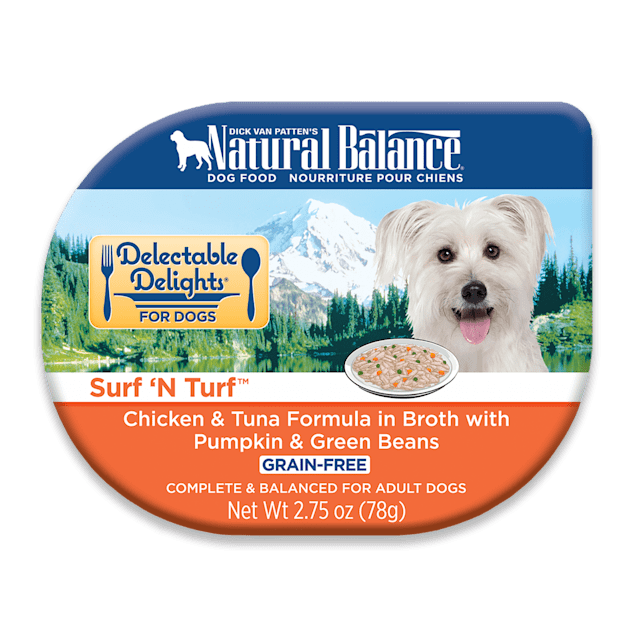 Natural Balance Delectable Delights Grain Free Surf 'N Turf Chicken & Tuna Adult Dog Food, 2.75 oz., Case of 24 - Carousel image #1