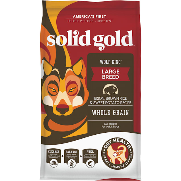 Solid Gold Wolf King Bison, Brown Rice & Sweet Potatoes Adult Dog Food, 24 lbs. - Carousel image #1