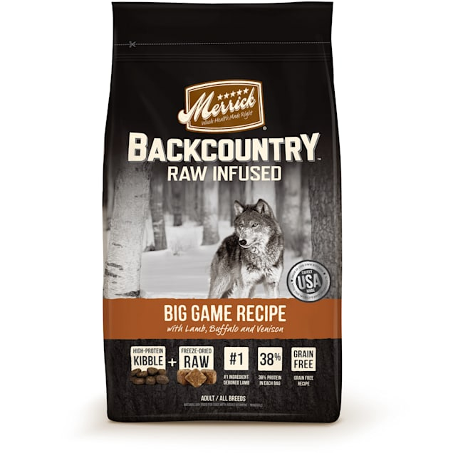 Merrick Backcountry Grain Free Raw Infused Big Game Dry Dog Food, 22 lbs. - Carousel image #1