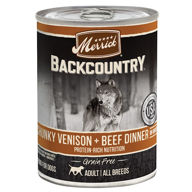 Merrick Backcountry  Grain Free Chunky Venison &  Beef in Gravy Wet Dog Food, 12.7 oz., Case of 12 - Carousel image #1