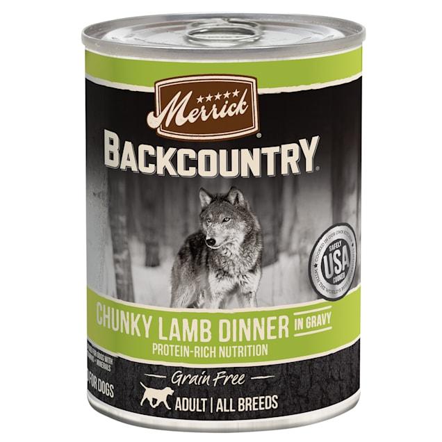 Merrick Backcountry Grain Free Chunky Lamb Dinner in Gravy Wet Dog Food, 12.7 oz., Case of 12 - Carousel image #1