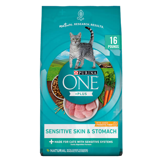 Purina ONE Natural Sensitive Skin & Stomach Formula Dry Cat Food, 16 lbs. - Carousel image #1