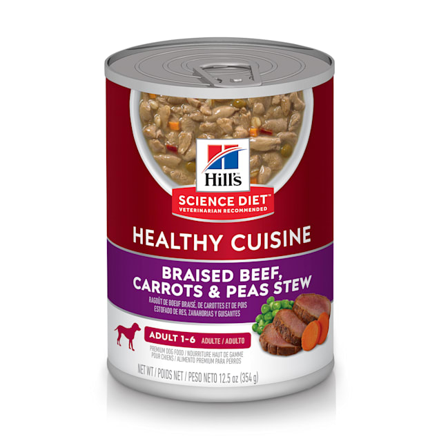 Hill's Science Diet Healthy Cuisine Adult Braised Beef, Carrots & Peas Stew Canned Dog Food, 12.5 oz., Case of 12 - Carousel image #1