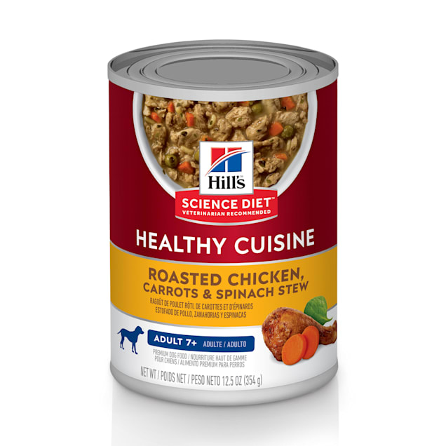 Hill's Science Diet Healthy Cuisine Adult 7+ Roasted Chicken, Carrots, & Spinach Stew Canned Dog Food, 12.5 oz., Case of 12 - Carousel image #1