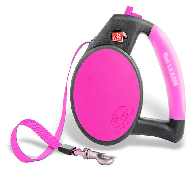 Wigzi Gel Retractable Pink Dog Leash, Medium, For Dogs up to 44 lbs. - Carousel image #1