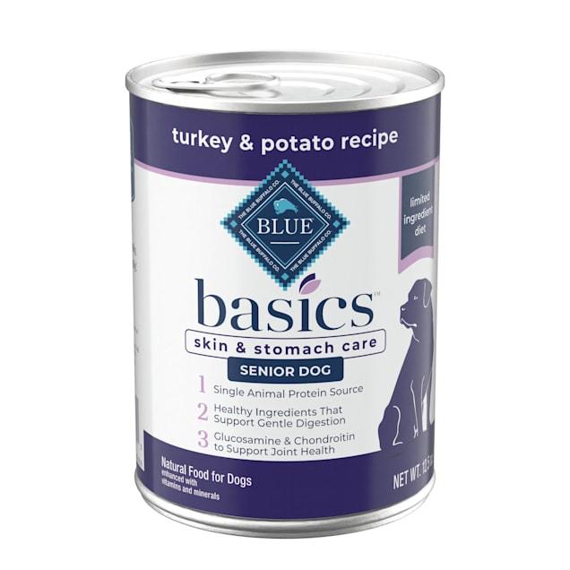 Blue Buffalo Blue Basics Grain-Free Turkey & Potato Recipe Senior Wet Dog Food, 12.5 oz., Case of 12 - Carousel image #1