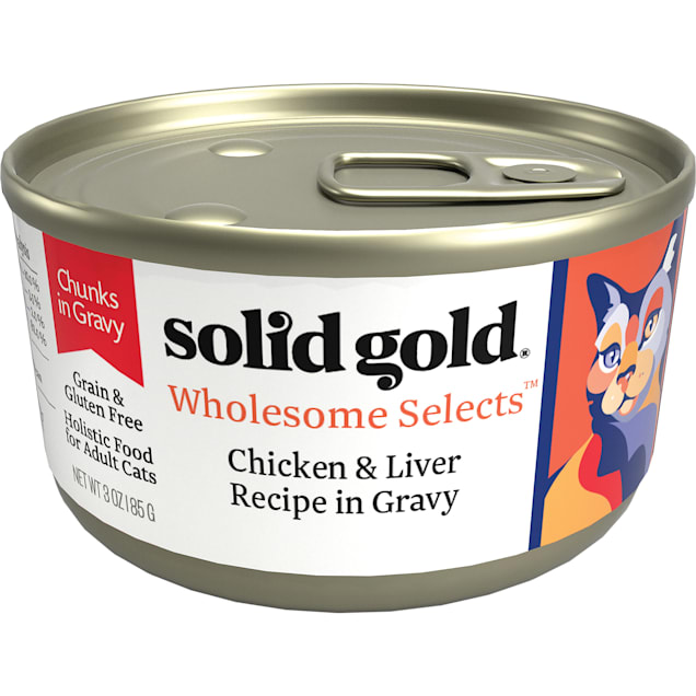 Solid Gold Wholesome Selects Chicken and Liver Recipe in Gravy Holistic Grain Free Canned Adult Cat Food, 3 oz., Case of 12 - Carousel image #1