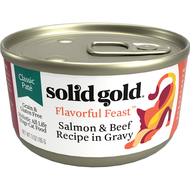 Solid Gold Flavorful Feast Salmon & Beef Recipe in Gravy Holistic Grain Free Canned Cat Food, 3 oz., Case of 12 - Carousel image #1