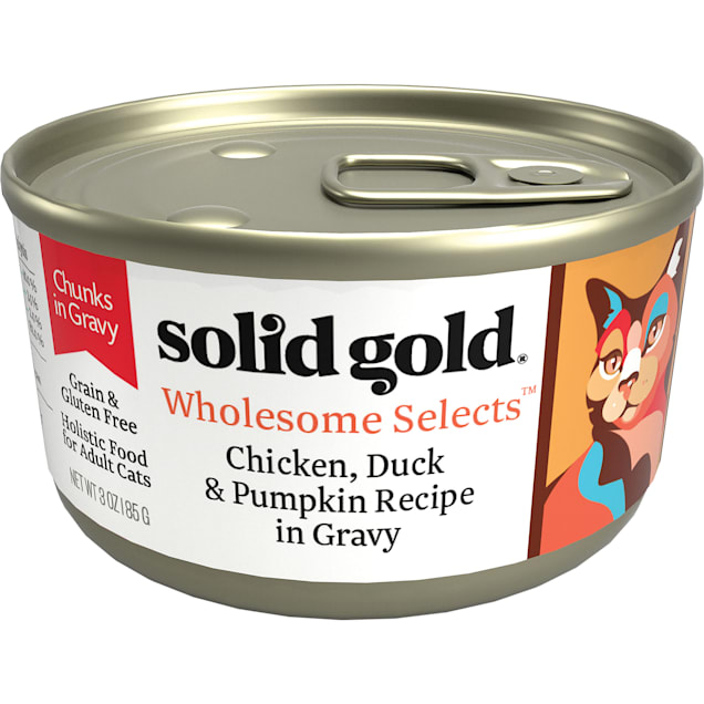 Solid Gold Wholesome Selects Chicken, Duck & Pumpkin in Gravy Holistic Grain Free Canned Adult Cat Food, 3 oz., Case of 12 - Carousel image #1