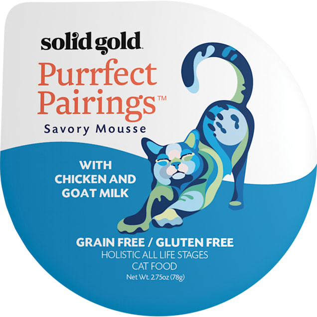 Solid Gold Purrfect Pairings Savory Mousse Grain Free Wet Cat Food, Chicken and Goat Milk, 2.75 oz., Case of 6 - Carousel image #1