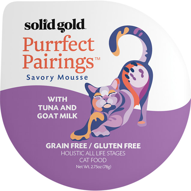 Solid Gold Purrfect Pairings Savory Mousse Grain Free Wet Cat Food, Tuna and Goat Milk, 2.75 oz., Case of 6 - Carousel image #1