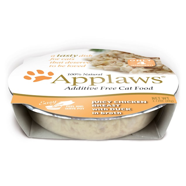 Applaws Juicy Chicken Breast with Duck Peel & Serve Pot Cat Food, 2.12 oz., Case of 18 - Carousel image #1