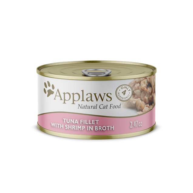Applaws Natural Tuna with Shrimp in Broth Wet Cat Food, 2.47 oz., Case of 24 - Carousel image #1
