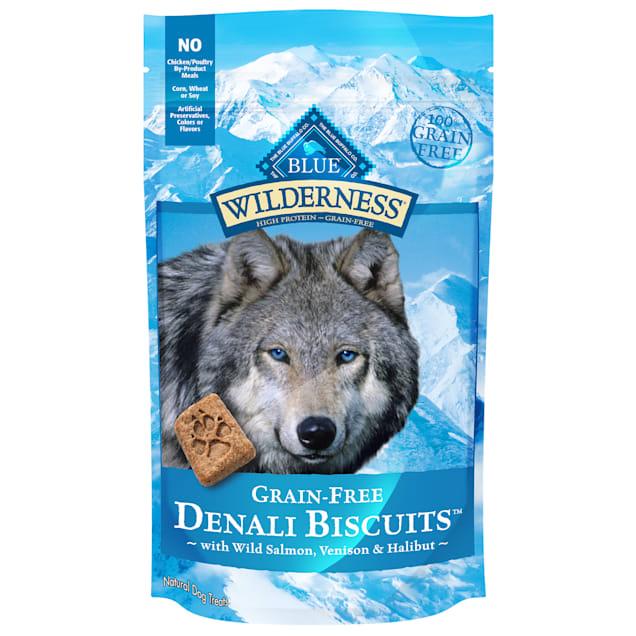 Blue Buffalo Blue Wilderness Denali Biscuits with Wild Salmon Venison & Halibut Grain-Free Natural Crunchy Dog Treats, 8 oz. - Carousel image #1
