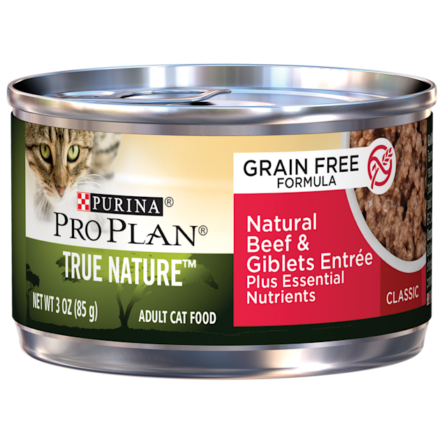 Purina Pro Plan True Nature Grain Free Formula Natural Beef & Giblets Entree Wet Cat Food, 3 oz., Case of 24 - Carousel image #1