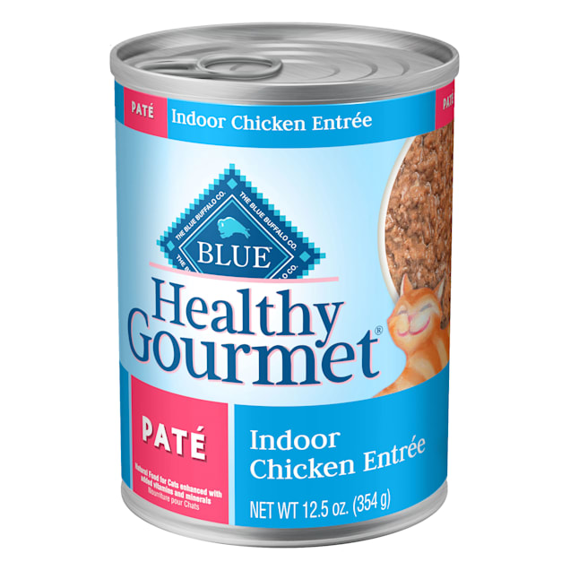 Blue Buffalo Blue Healthy Gourmet Pate Indoor Chicken Adult Canned Cat Food, 12.5 oz., Case of 12 - Carousel image #1