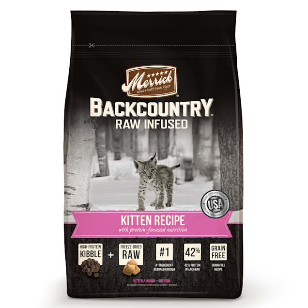 Merrick Backcountry Grain Free Raw Infused Kitten Recipe Dry Cat Food, 6 lbs. - Carousel image #1