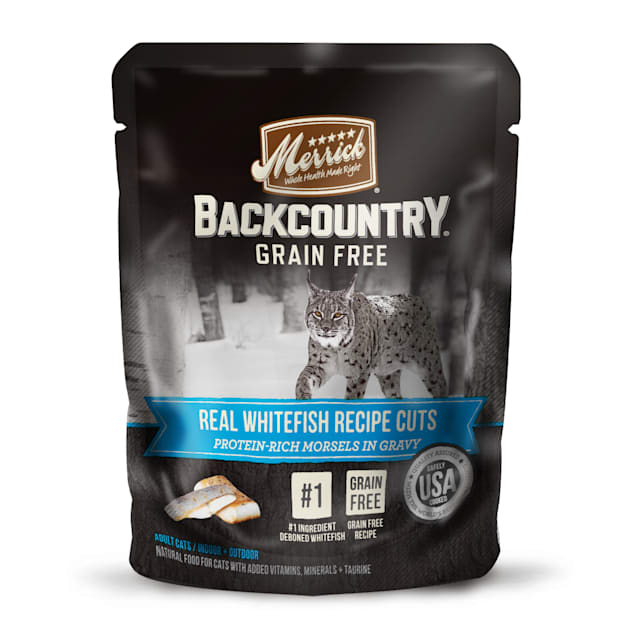 Merrick Backcountry Grain Free Real Whitefish Recipe Cuts Wet Cat Food, 3 oz., Case Of 24 - Carousel image #1