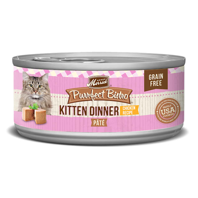 Merrick Purrfect Bistro Grain Free Kitten Dinner Chicken Recipe Pate Wet Cat Food, 5.5 oz., Case of 24 - Carousel image #1