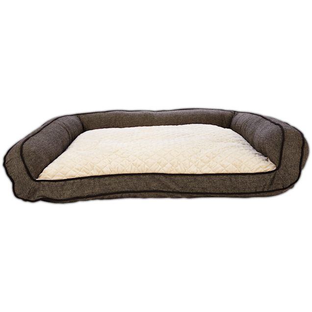 """Harmony Memory Foam Couch Dog Bed in Brown, 48"""" L x 36"""" W - Carousel image #1"""