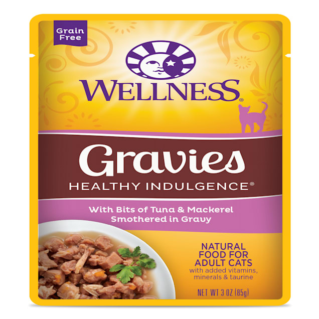 Wellness Healthy Indulgence Natural Grain Free Gravies with Tuna & Mackeral in Gravy Wet Cat Food, 3 oz., Case of 12 - Carousel image #1