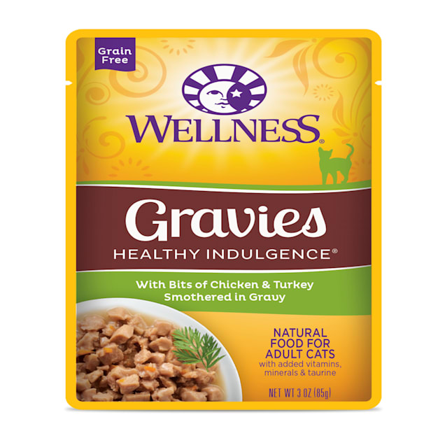 Wellness Healthy Indulgence Natural Grain Free Gravies with Chicken & Turkey in Gravy Wet Cat Food, 3 oz., Case of 12 - Carousel image #1