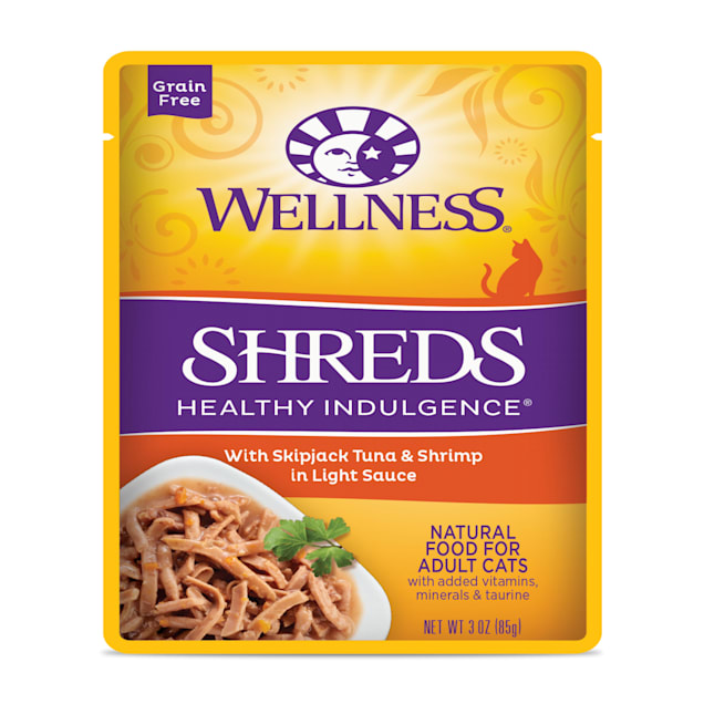 Wellness Healthy Indulgence Natural Grain Free Shreds with Tuna & Shrimp in Light Sauce Wet Cat Food, 3 oz., Case of 12 - Carousel image #1