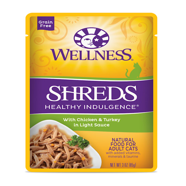 Wellness Healthy Indulgence Natural Grain Free Shreds with Chicken & Turkey in Light Sauce Wet Cat Food, 3 oz., Case of 12 - Carousel image #1