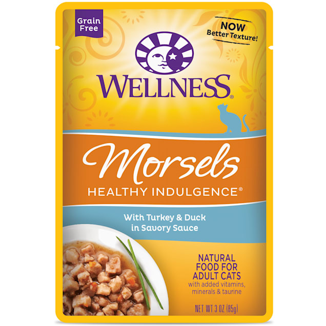 Wellness Healthy Indulgence Natural Grain Free Morsels with Turkey & Duck in Savory Sauce Wet Cat Food, 3 oz., Case of 12 - Carousel image #1