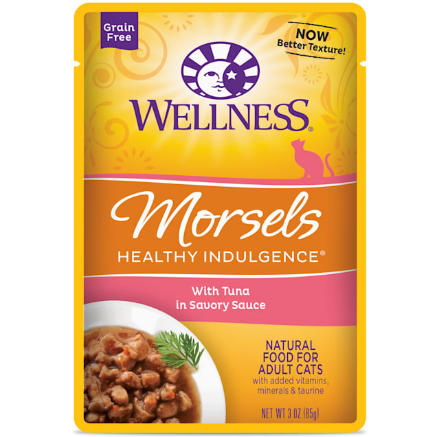 Wellness Healthy Indulgence Natural Grain Free Morsels With Tuna in Savory Sauce Wet Cat Food, 3 oz., Case of 12 - Carousel image #1