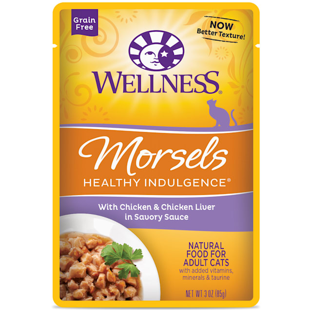 Wellness Healthy Indulgence Natural Grain Free Morsels w/Chicken & Chicken Liver in Sauce Wet Cat Food, 3 oz., Case of 12 - Carousel image #1