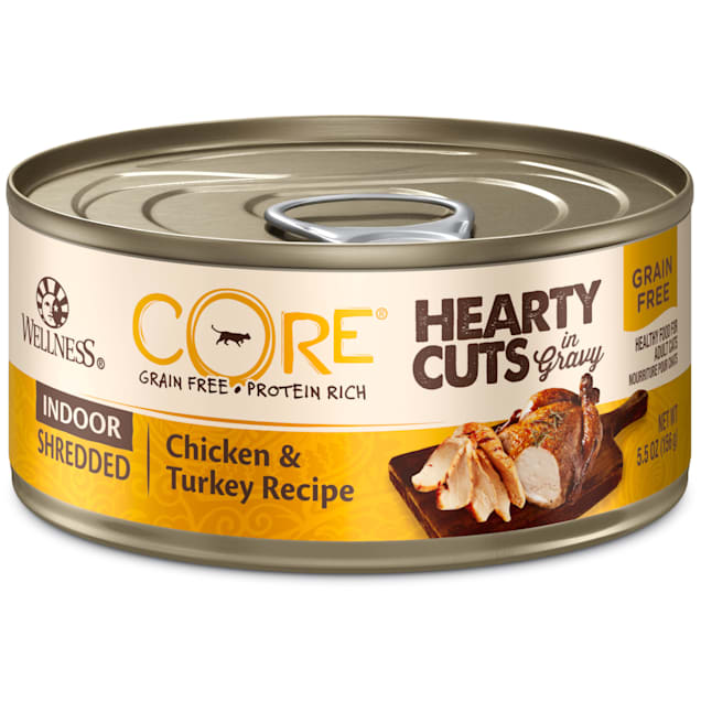 Wellness CORE Hearty Cuts Natural Grain Free Chicken & Turkey Wet Indoor Cat Food, 5.5 oz., Case of 24 - Carousel image #1