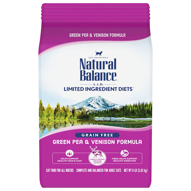 Natural Balance L.I.D. Limited Ingredient Diets Green Pea & Venison Formula Dry Cat Food, 8 lbs. - Carousel image #1