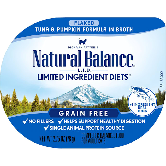 Natural Balance L.I.D. Limited Ingredient Diets Tuna & Pumpkin Formula in Broth Wet Cat Food, 2.75 oz., Case of 24 - Carousel image #1