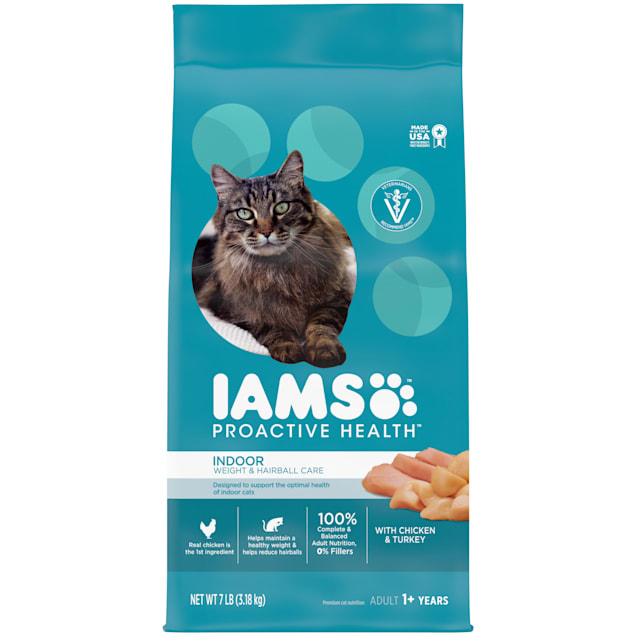 Iams Proactive Health Indoor Weight & Hairball Control With Chicken and Turkey Adult Dry Cat Food, 7 lbs. - Carousel image #1