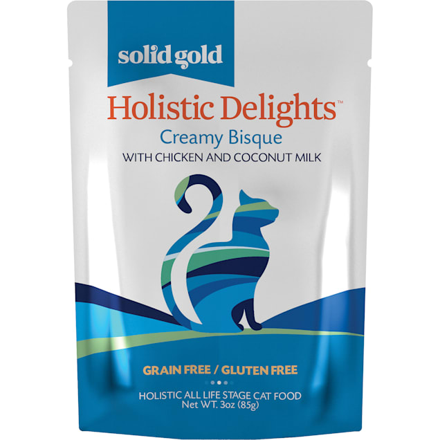 Solid Gold Holistic Delights Creamy Bisque Grain Free Wet Cat Food, Chicken and Coconut Milk, 3 oz., Case of 12 - Carousel image #1